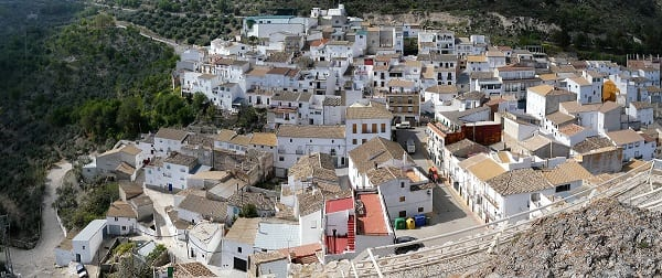 A panoramic view of Solera from the fort and castSierra Magina, Spainle,