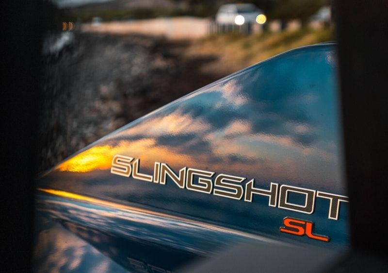 close up of a Polaris Slingshot logo