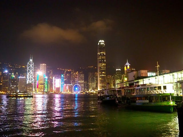 Hong Kong harbour and skyline with Star Ferry at night