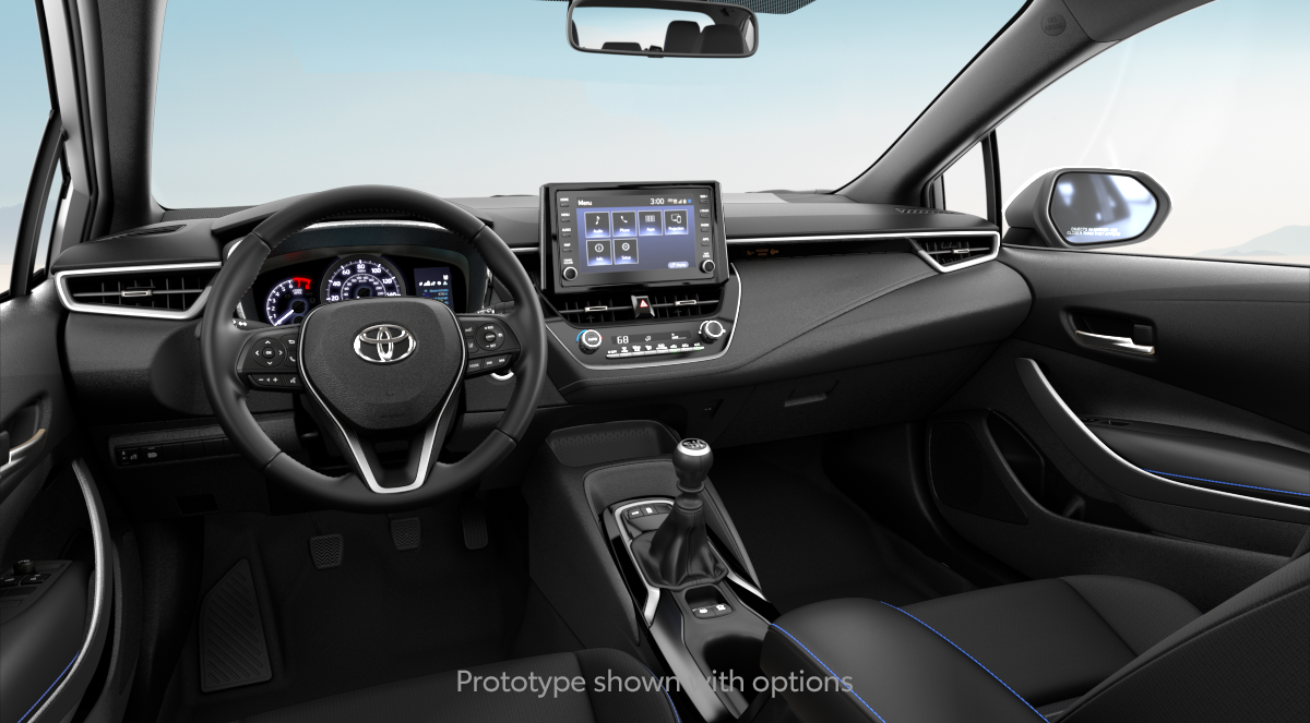 ALL BLACK FABRIC Interior in 2020 Toyota Corolla SE (6MT) with FC20 factory code