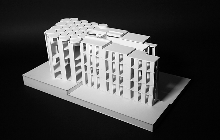 view of foamcore model with all pieces