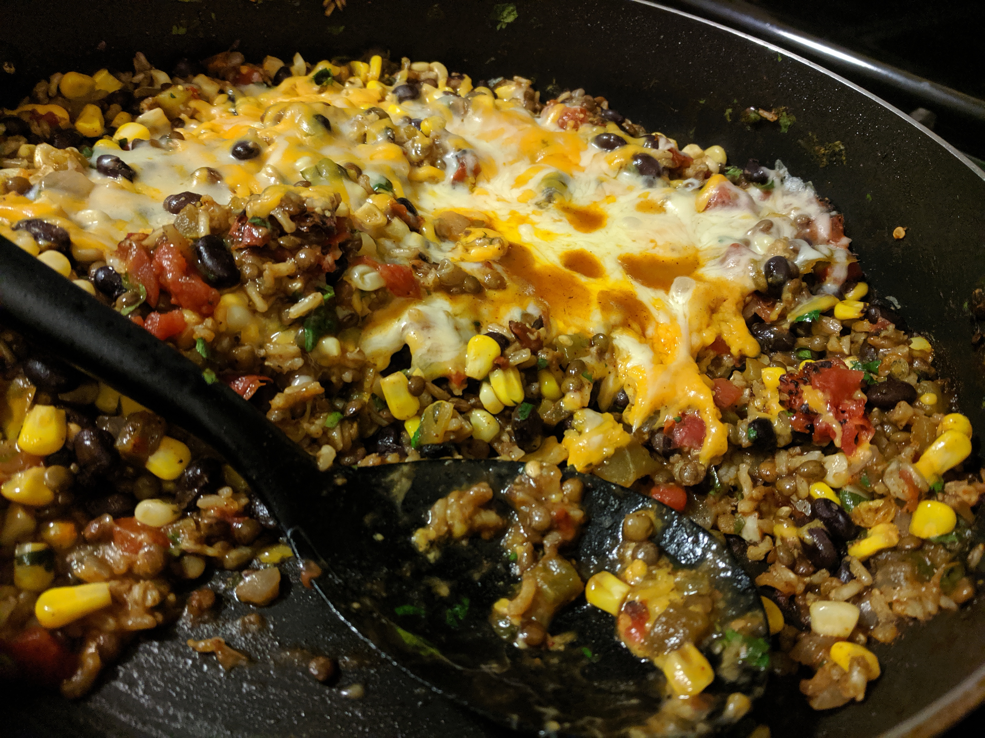 Image of Cheesy Mexican Lentils, Black Beans and Rice