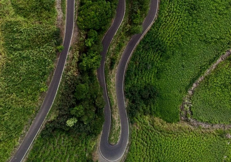 aerial view of rollercoaster road