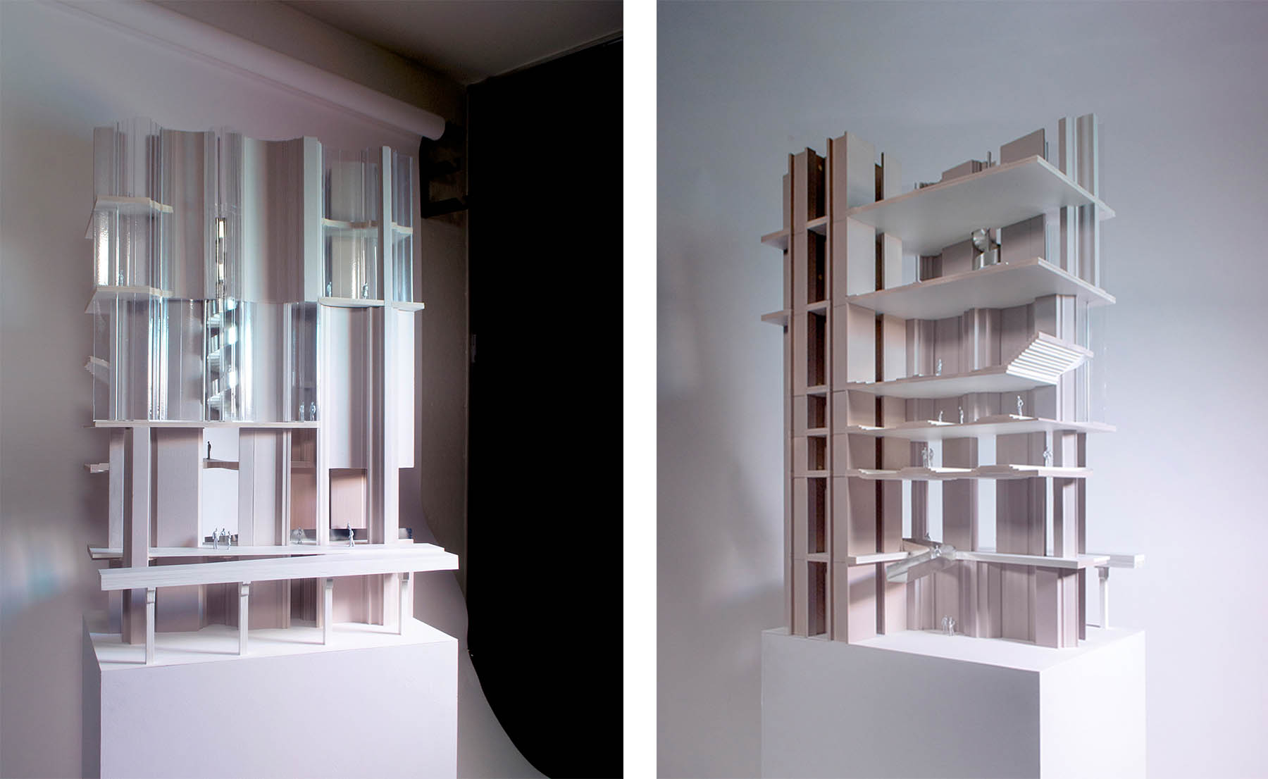 A fragment model of a facade and its attached interior space