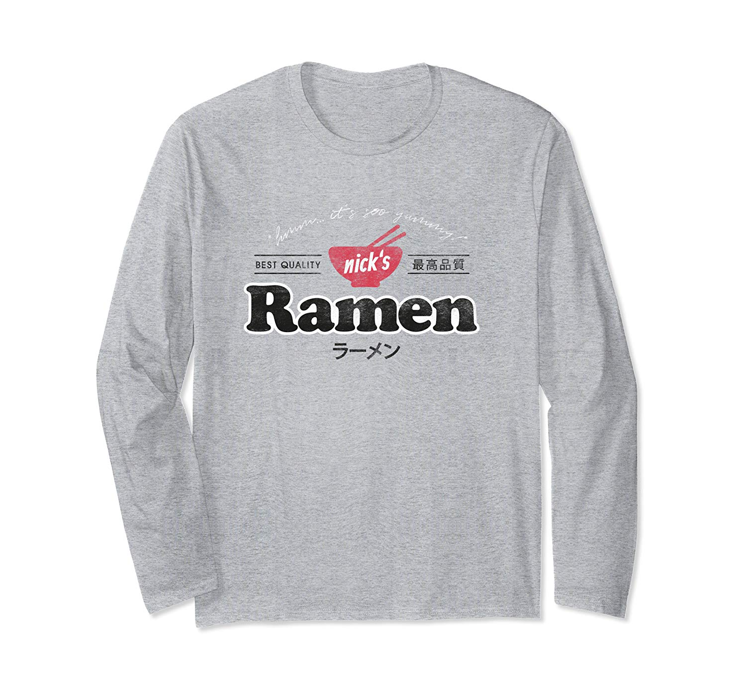 T-Shirt: Nicks Ramen Signature Japan Nudel Retro Design Langarmshirt