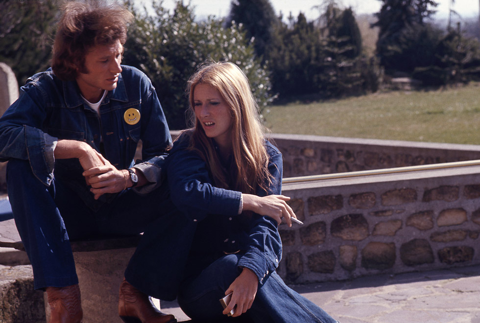 Johnny Hallyday et Nanette Workman en 1972.