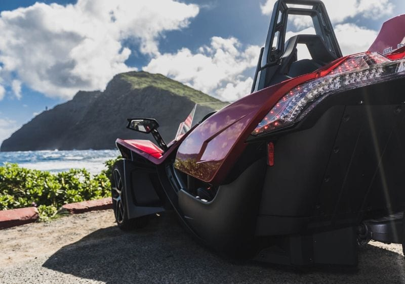 Polaris Slingshot parked along the scenic coast1