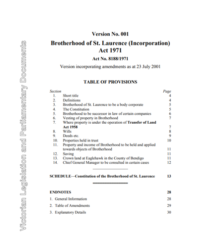 This is a picture of the first page of the document outlining the incorporation of BSL by Victorian Act of Parliament