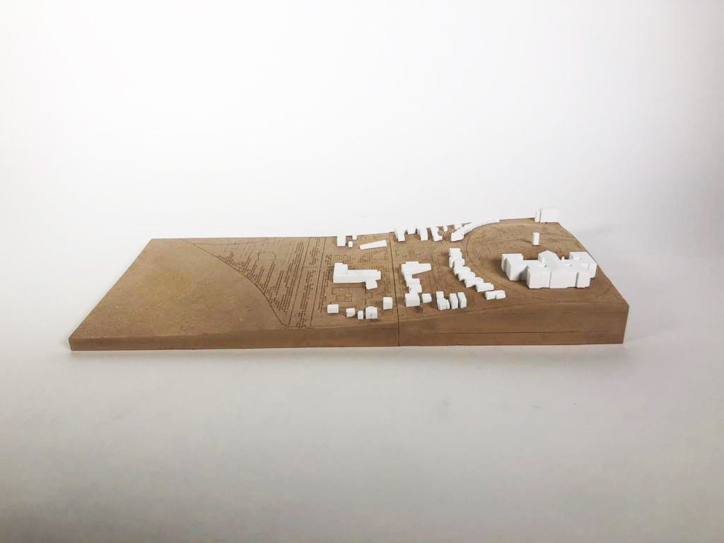 brown mdf landscape site model with white p.l.a. buildings of South Boston