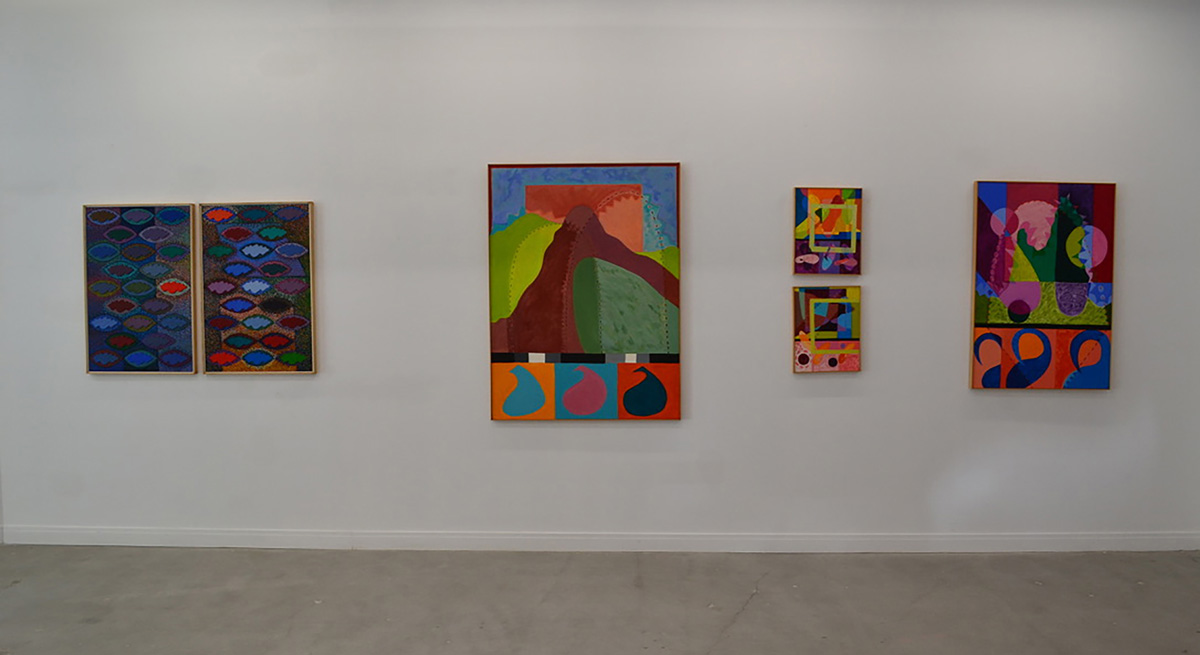 Installation of six paintings, each depicting patterns and abstract compositions of shapes in a mix of muted and vibrant colors