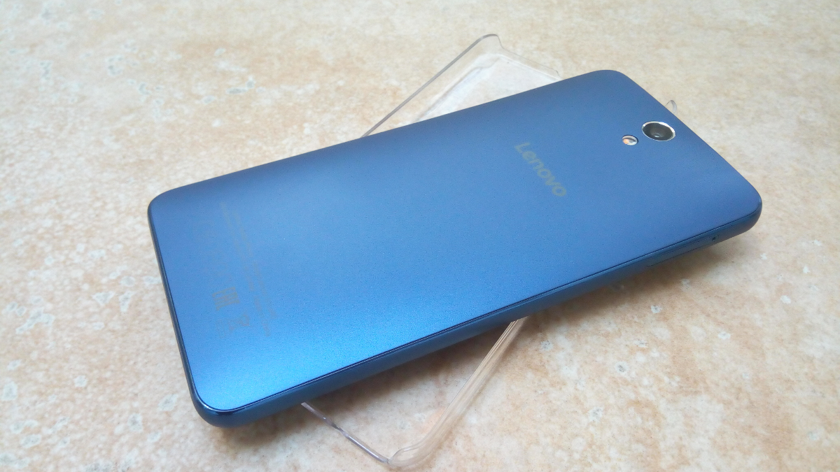 A photo of the back side of the blue Lenovo Vibe S1 Lite.