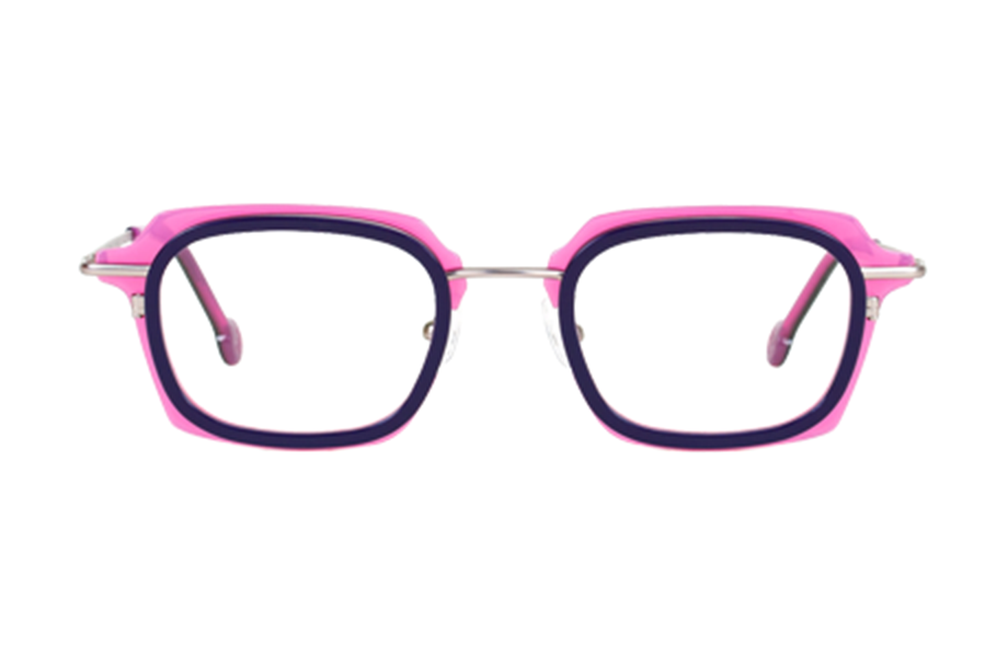 Lunettes de vue Jenks - 267510, l.a. Eyeworks, Carrée Rectangle, de couleur Violet Rose.