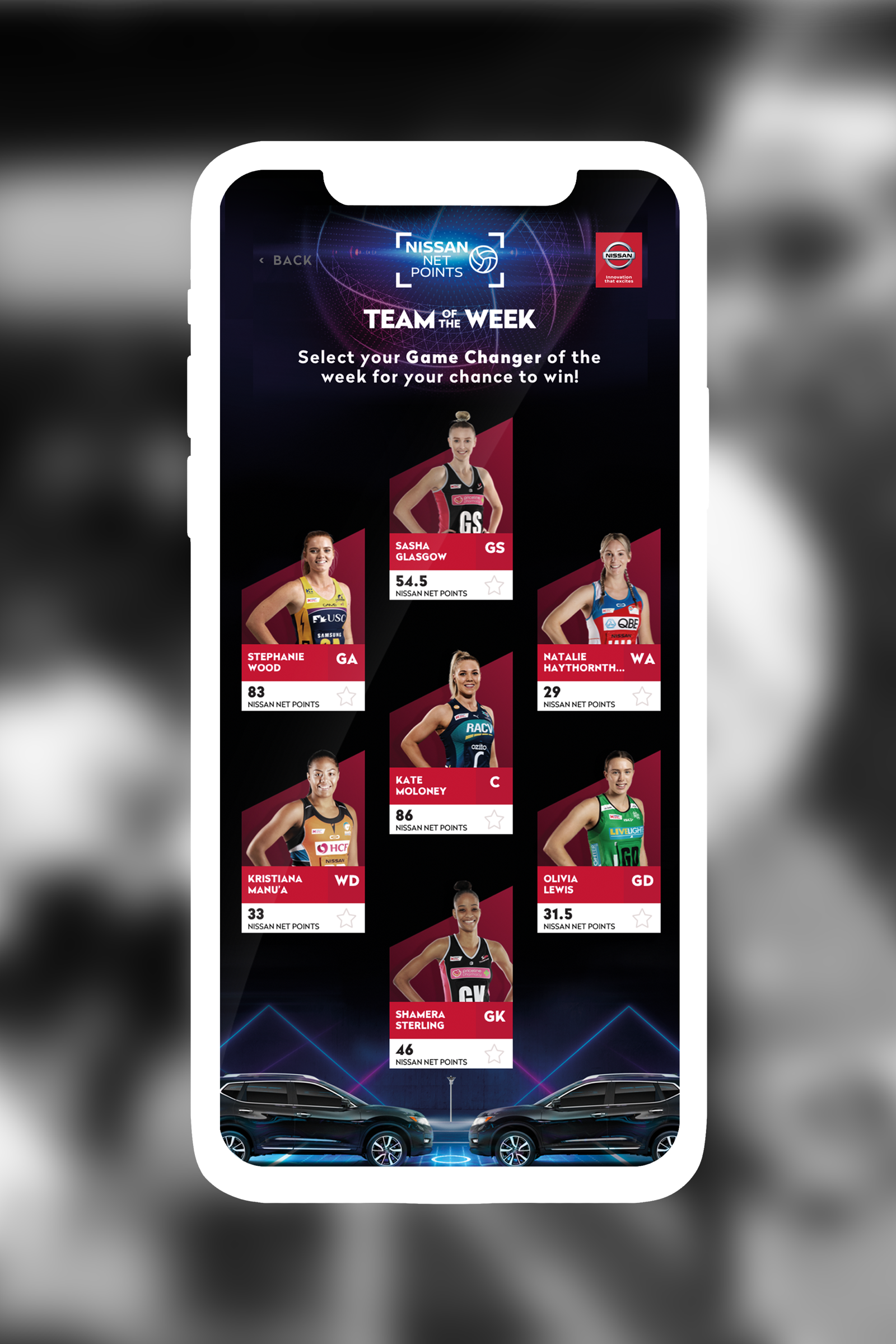 Netball NetPoints Selection Mobile