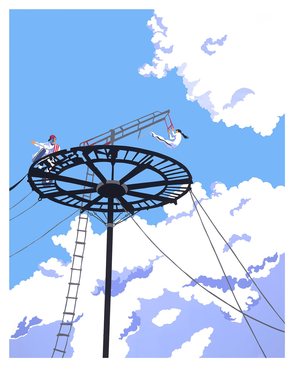 Illustration of acrobat swinging from ladder and cyclist performing stunt on circular track suspended high in the air, above plump clouds