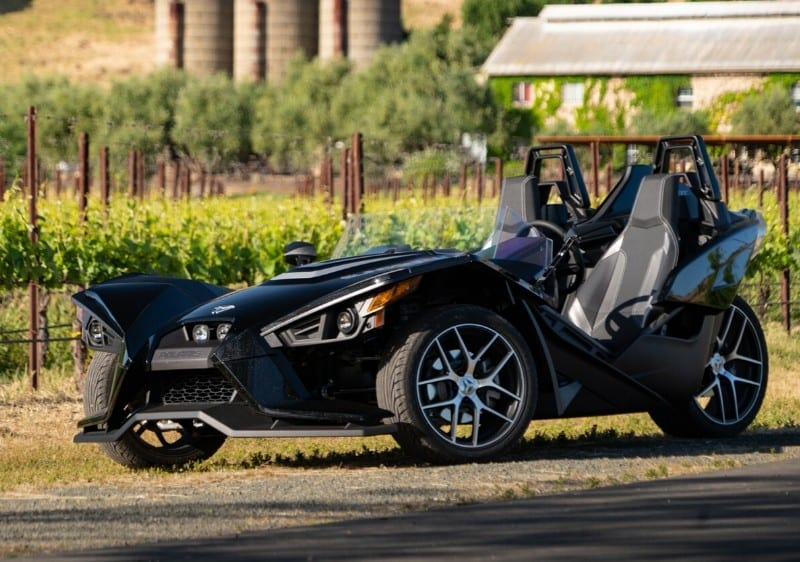 Polaris Slingshot parked near a winery