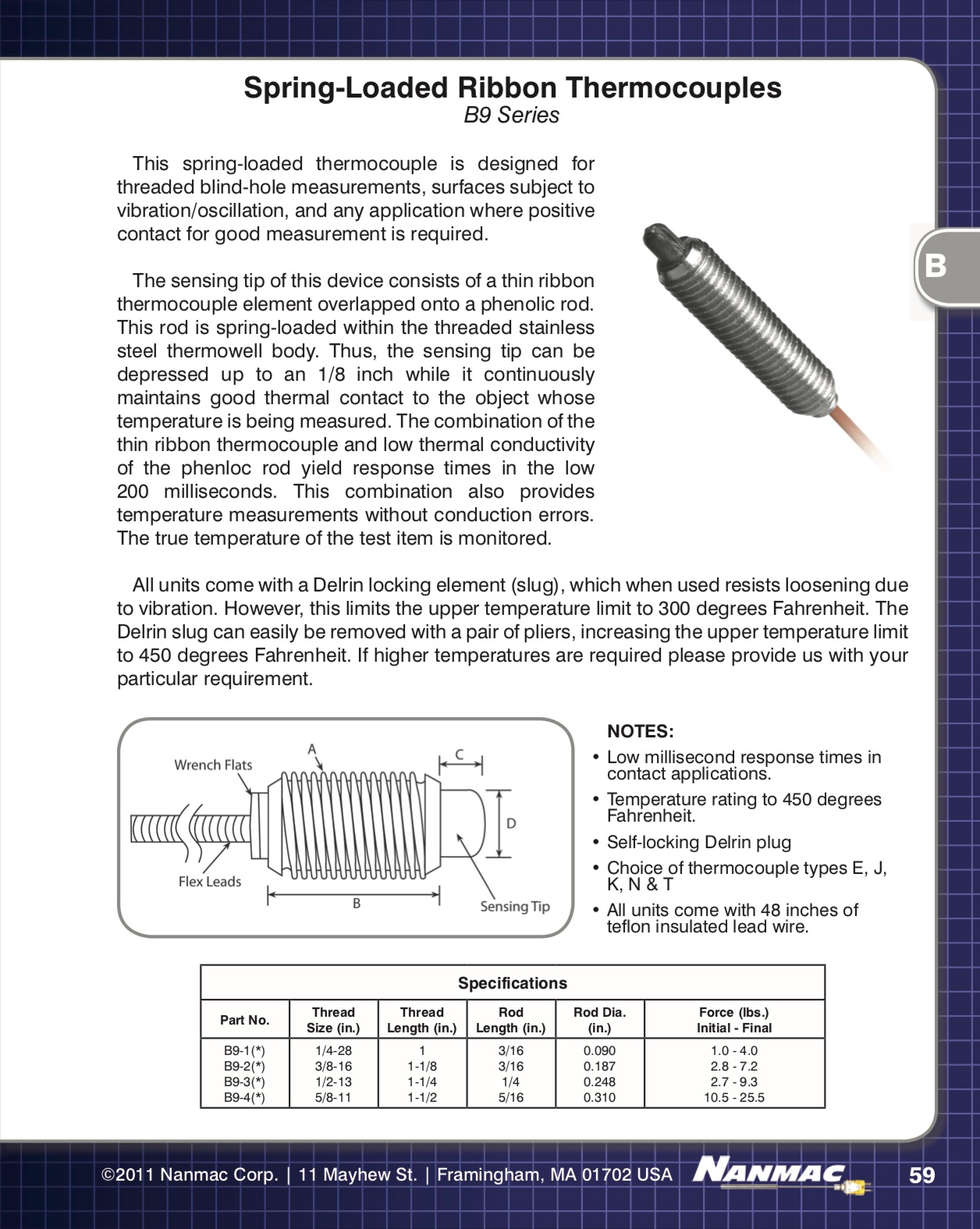 Spring Loaded Ribbon Thermocouples