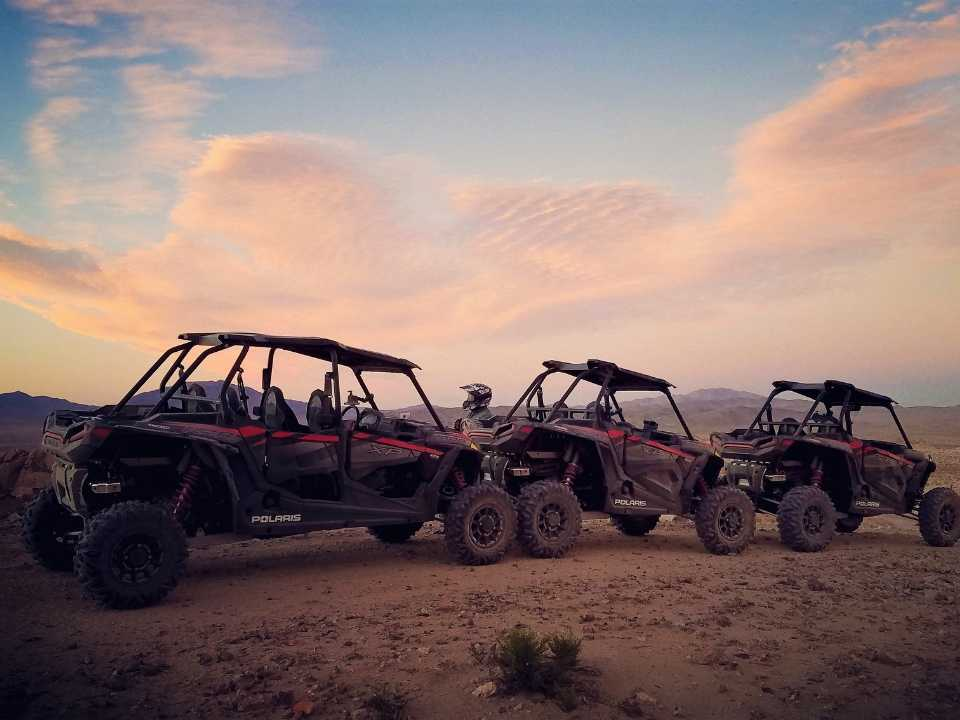 off-road vehicles lined up