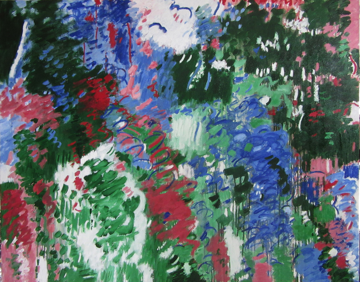 Abstract painting with curves, hashes, and broad gestures of blues, reds, greens, white, and black