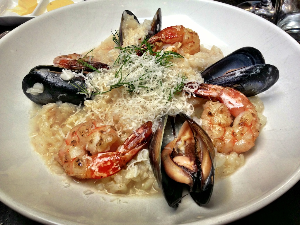 Risotto with clams, mussels and shrimp