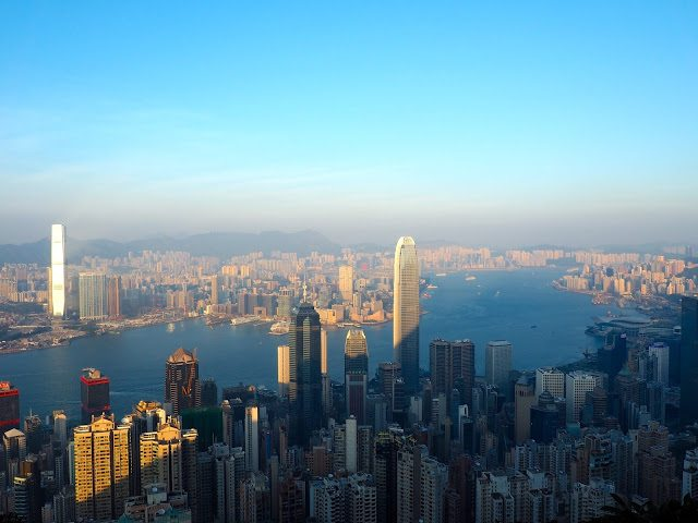 Hong Kong skyline and harbour viewed from The Peak
