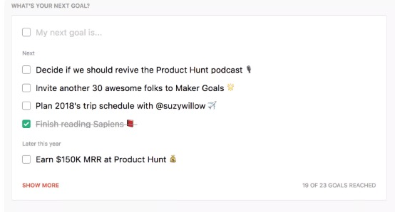Product Hunt Goals
