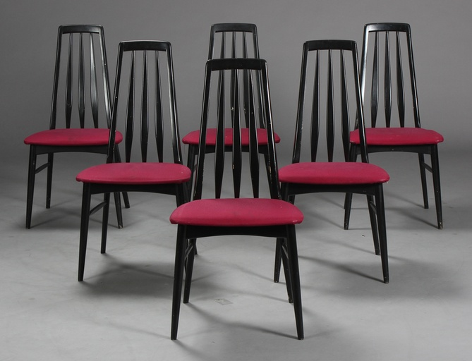 "Set of Six ""Eva"" Dining Room Chairs Designed by Niels Koefoed"
