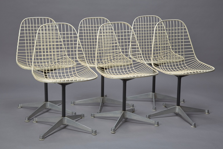 Set of 6 Armless Wire Swivel Chairs with 4-star Base by Eames For Herman Miller