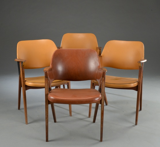 Set of Four Teak Armchairs