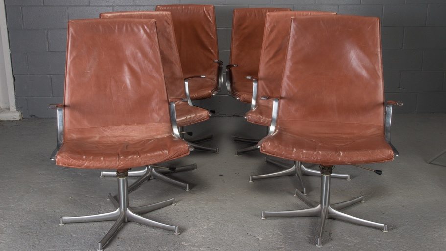 Set of 6 Armchairs in Chrome and Cognac Leather by Walter Knoll