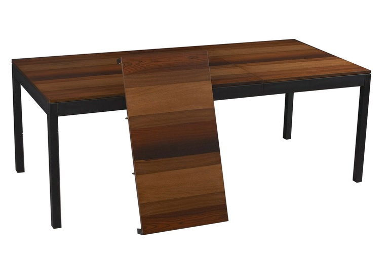 Rosewood, Walnut and Ash Extension Dining Table by Milo Baughman