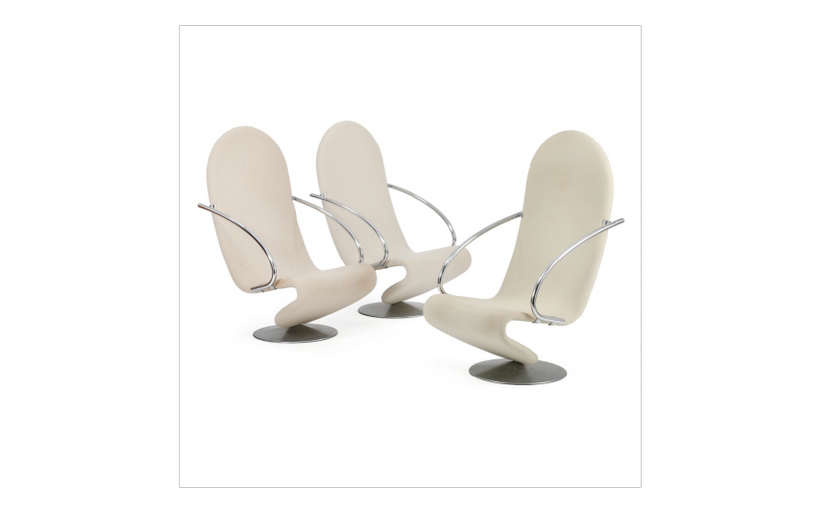 Three System 1–2-3 Easy Chairs for Fritz Hansen