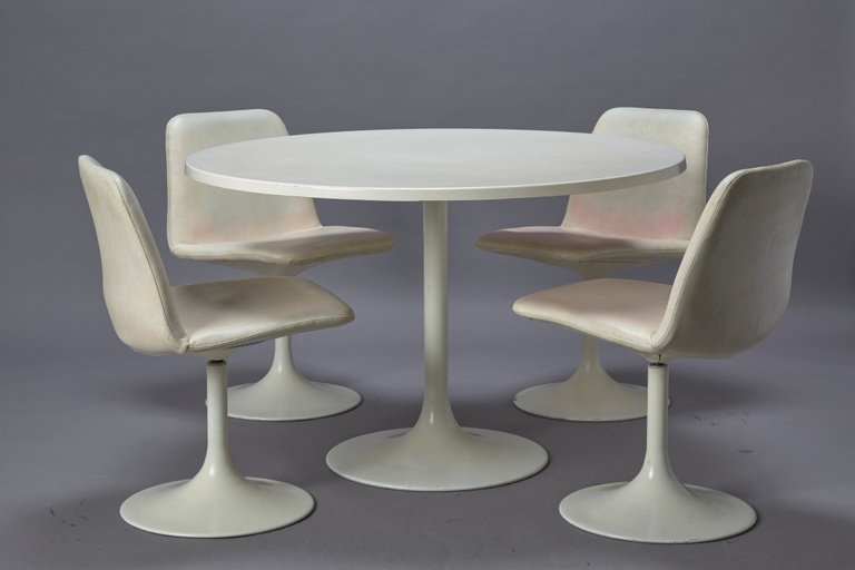 Set of Four White Tulip Chairs with White Cushions