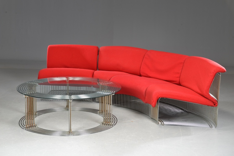 Verner Panton Four 'Pantonova' sectional and glass round coffee table