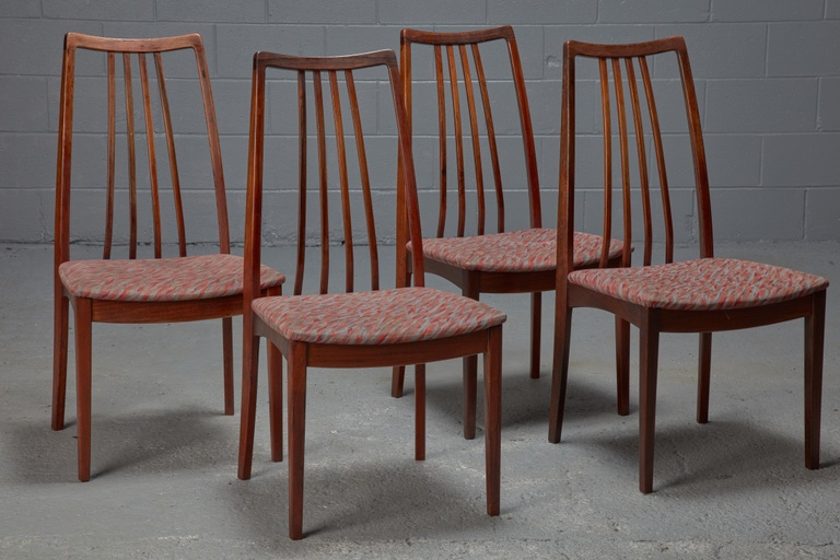 Set of 4 Danish Modern Rosewood High Back Dining Chairs