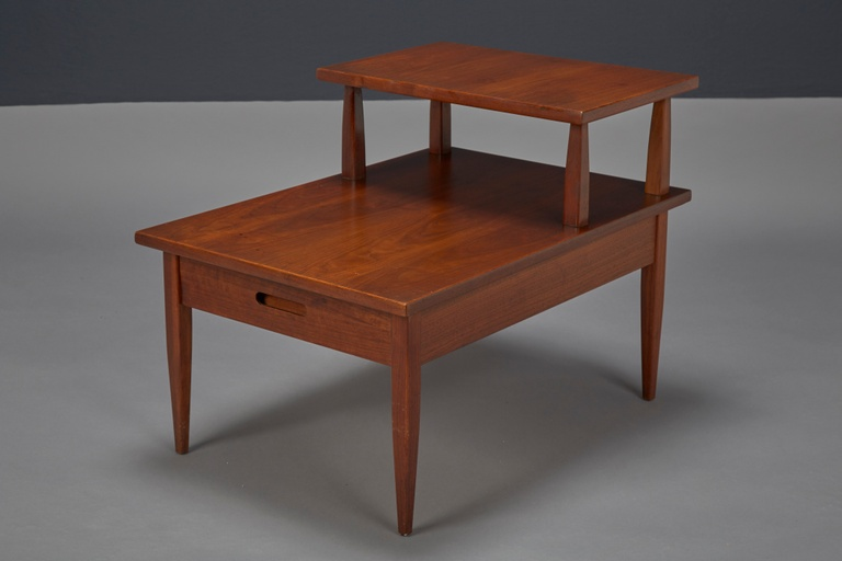 Walnut Two-Tiered Side Table by T.H. Robsjohn-Gibbings for Widdicomb