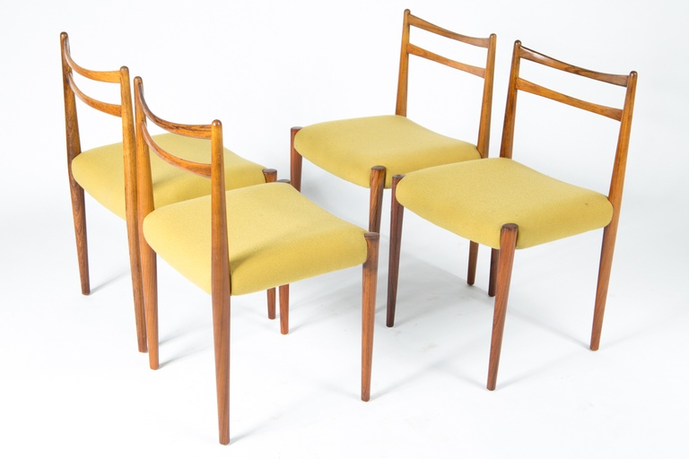 Four 1960s Yellow Fabric Rosewood Danish Modern Chairs