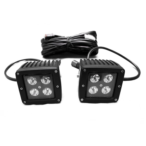 Race Sport Lighting RSBO3X3 Blacked Out Series 3x3 LED Auxiliary Light Cube Kit with spot optical beam