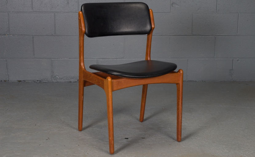 Set of Six Teak and Leather Danish Modern Dining Chairs by Erik Buch for O.D. Mobler