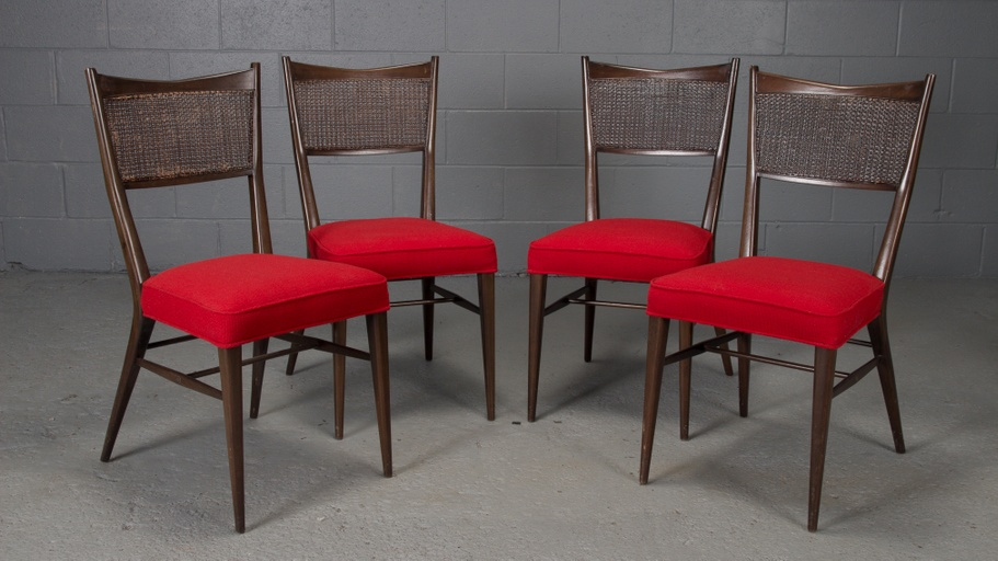 Set of 4 Dining Chairs in Black Lacquer and Red Fabric by Paul McCobb for Directional