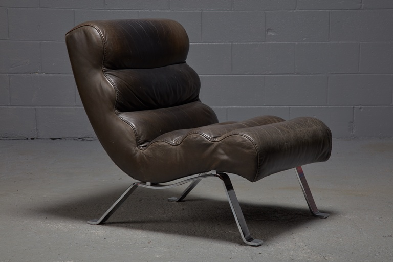 Leather Lounge Chair attributed to Arne Norell