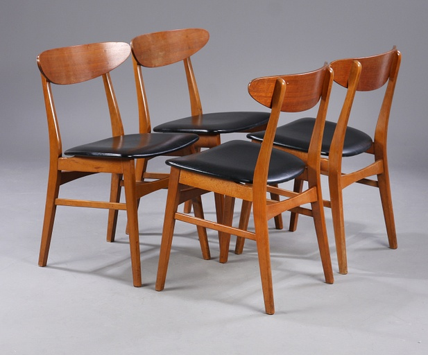 Set of 4 Teak and Beech Chairs by Farstrup