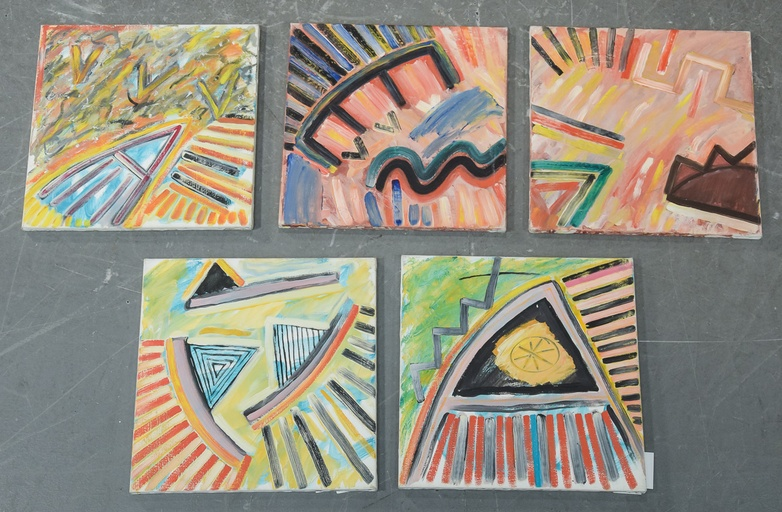 Collection of 5 Morten Tøgern compositions, oil on canvas, 1987
