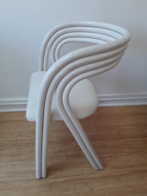 Set of 4 White Painted Dutch Bentwood Armchairs by Jan des Bouvrie for Rohé Noordwolde