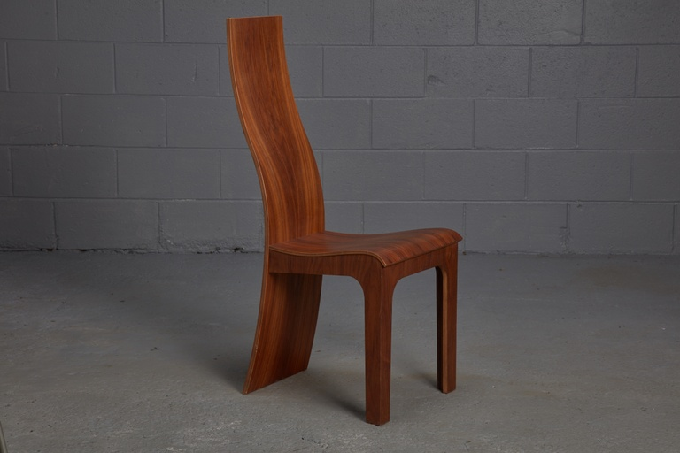 Set of 5 High Back Rosewood Bent Plywood Chairs by Hans Karlsson