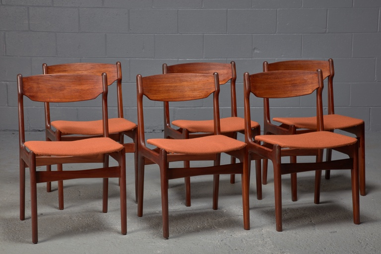 Set of 6 Teak and Orange Fabric Dining Chairs