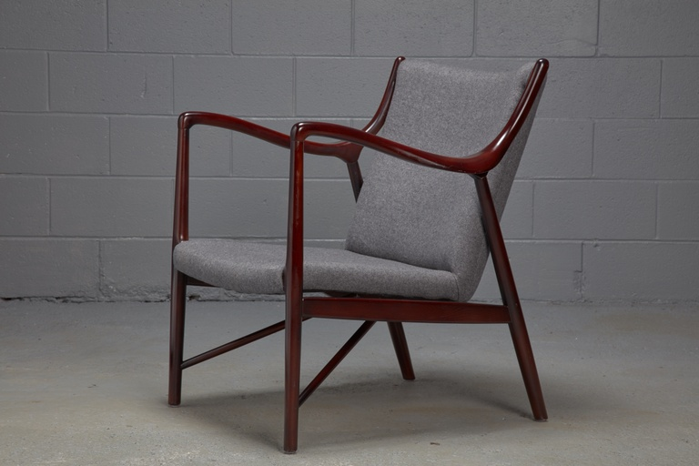 Rosewood Finished Danish Modern Chair in Style of Finn Juhl for Niels Vodder Model NV45