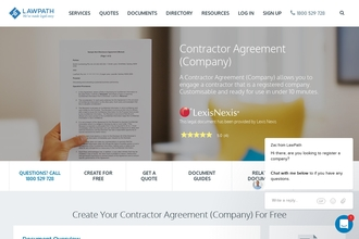 Image of Contractor Agreement (Company) from LawPath | Review