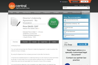 Image of Director's Indemnity Agreement - No Insurance from Law Central   Review