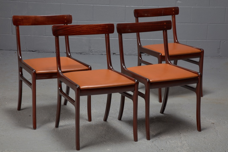 Set of 4 Mahogany Rungstedlund Dining Chairs in Cognac Leather by Ole Wanscher