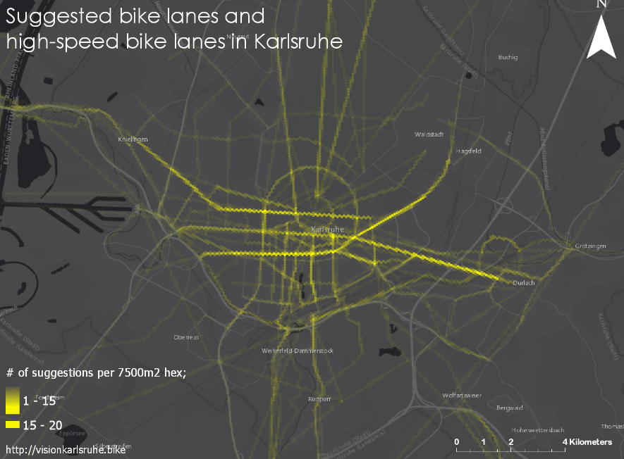 heat map of suggested bike lanes